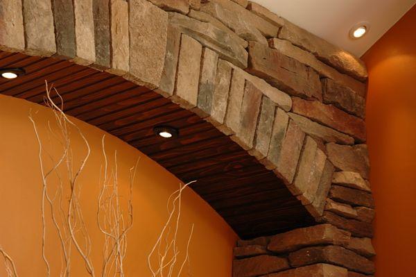 ledgestone wall niche detail
