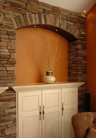 ledgestone wall niche