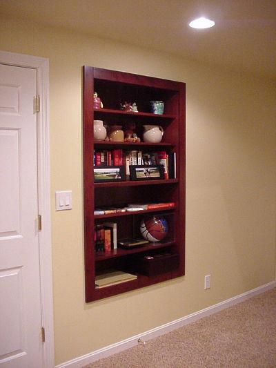 large wood framed wall niche