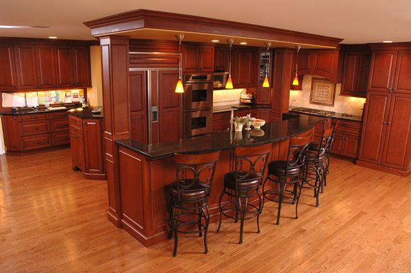 kitchen addition with tiered island