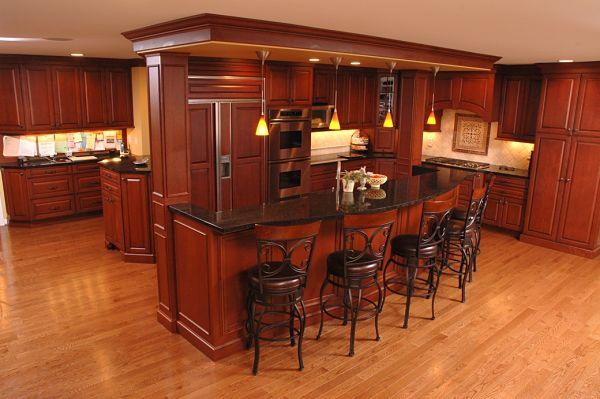 kitchen addition with tiered island
