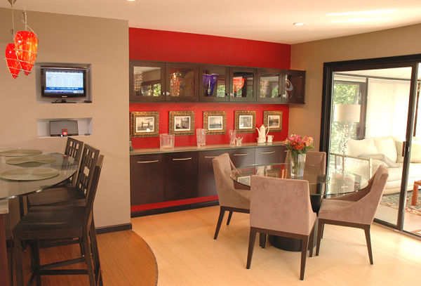 contemporary kitchen with display cabinets