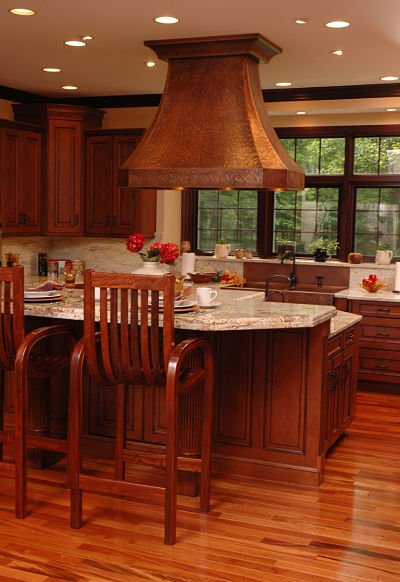 kitchen with hammered copper hood