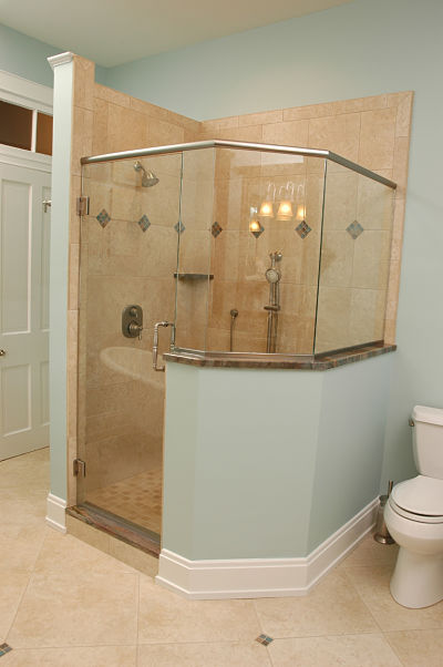 walkin shower with glass door