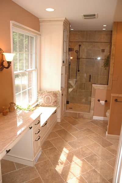 master bath window seat with storage drawers
