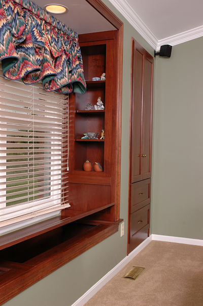 window seat with hinged wood bench