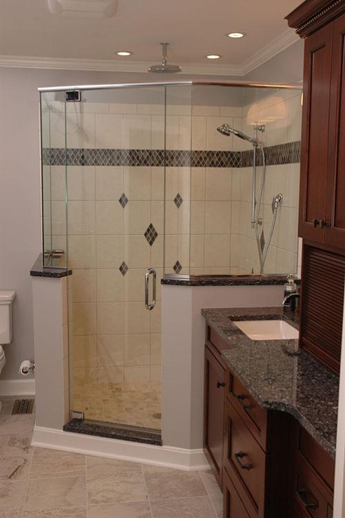 corner shower with rainfall showerhead - Bathroom Remodel Corner Shower