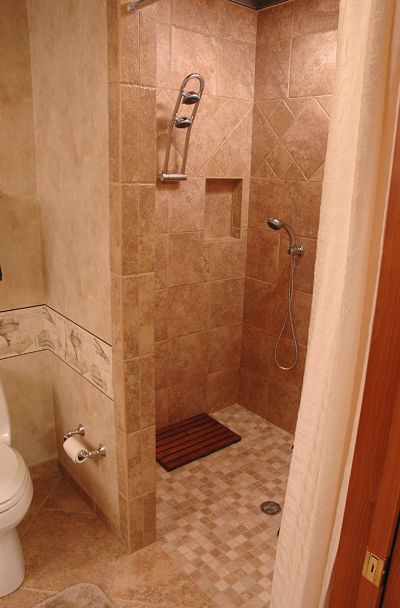 doorless walk in showers need more living space check out these lower level remodels