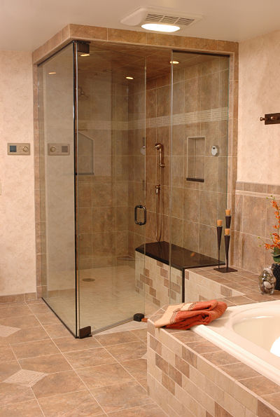 Ventilation fan and light for shower and tub