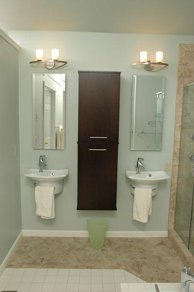 Bathroom saves floor space