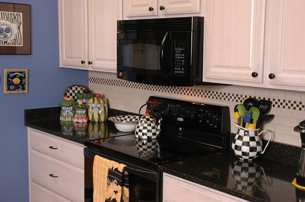 Kitchen Backsplash with Checkerboard Accent Tile