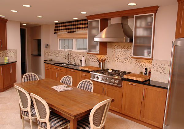 Transitional Kitchen with Mosaic Border Tile