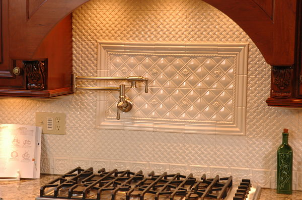 Kitchen with Basket Weave Mosaic Tile Pattern