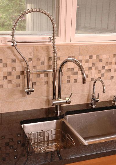 Kitchen Backsplash with Mosaic Tile Border