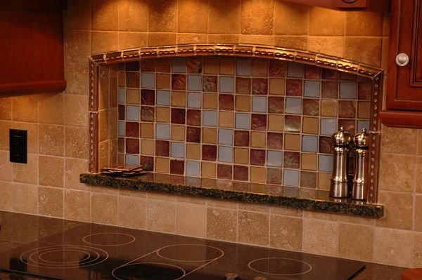 Kitchen Backsplash with Square Mosaic Tile Inset