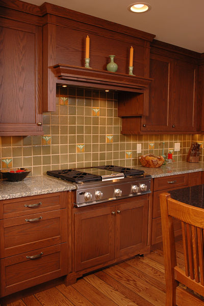 Mission Style Kitchen with Grid Tile Pattern