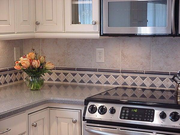 Kitchen Backsplash with Mosaic Tile Border and Liner