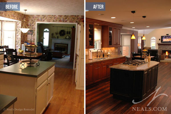 open kitchen before after