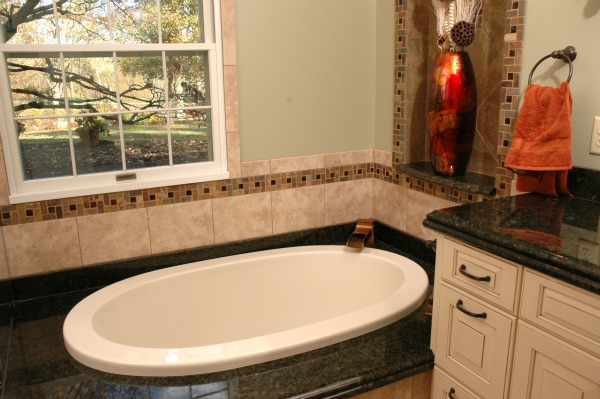 Drop-in Bathtub with Deck and Granite Surface