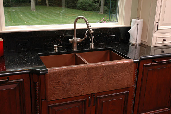 Copper apron front kitchen sink