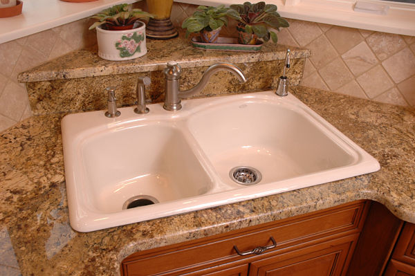 Enameled cast iron kitchen sink
