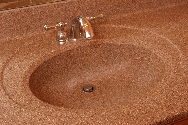 solid surface vanity sink with backsplash