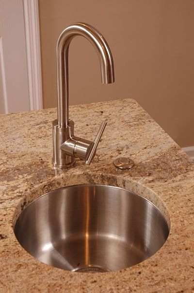 stainless steel bar sink on kitchen island