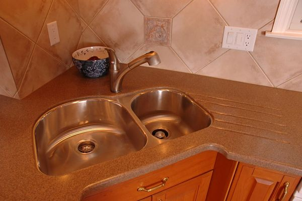 corner undermount stainless steel sink with double bowl