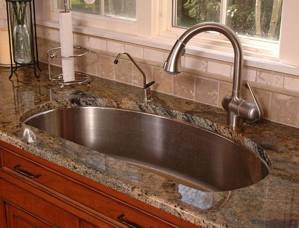 undermount stainless steel sink with shaped single bowl