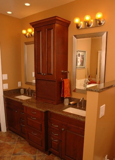 transitional bath cabinetry