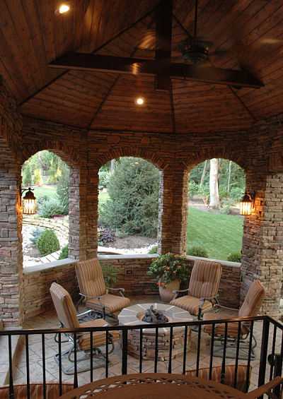outdoor room with gas firepit seating area