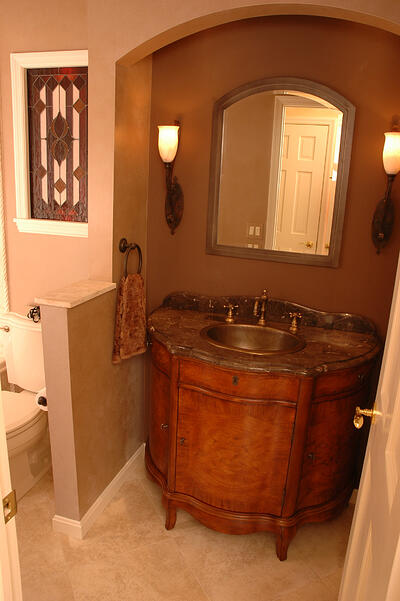 9 great design ideas for half baths and powder rooms - Unique bathroom vanities for small spaces ...