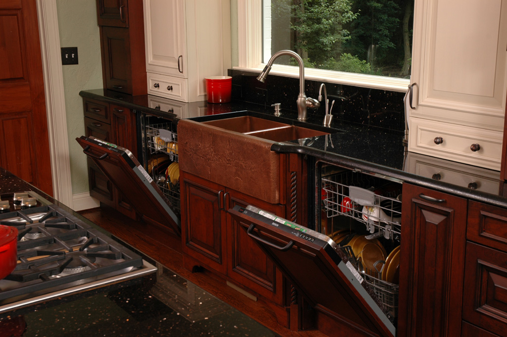 Kitchen with two dishwashers