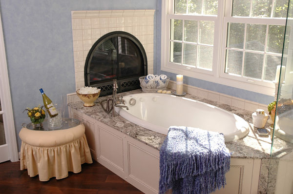 Luxury Bath with Fireplace
