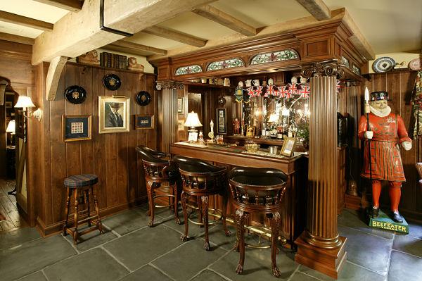 English pub basement remodel