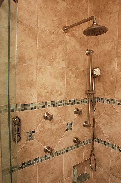 mosaic glass tile border in shower