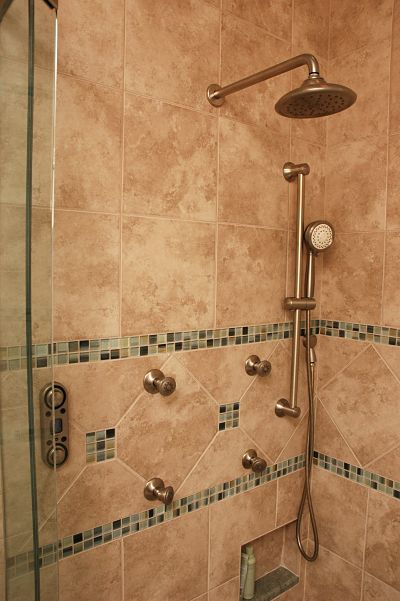 mosaic glass tile border in shower