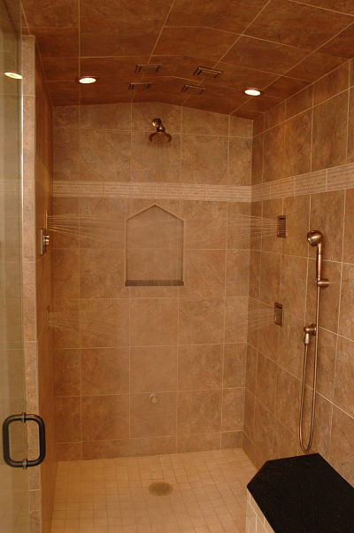 walk-in shower with multiple body sprays