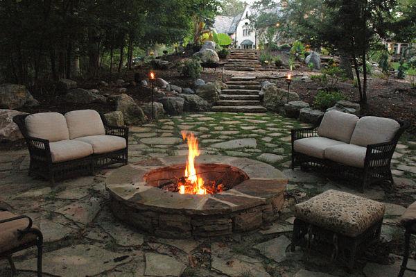 wood-burning firepit in garden