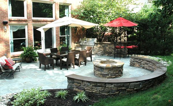 stone firepit on patio