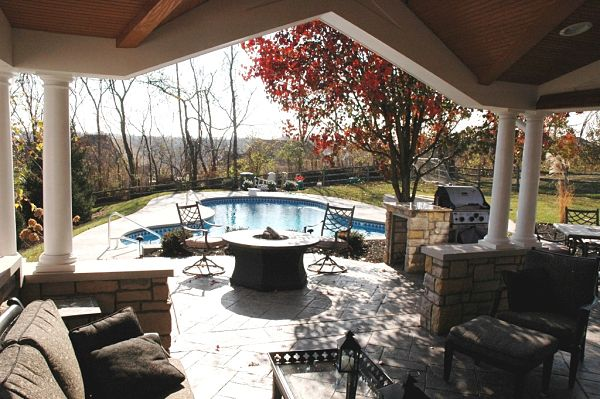poolside firepit and outdoor living space