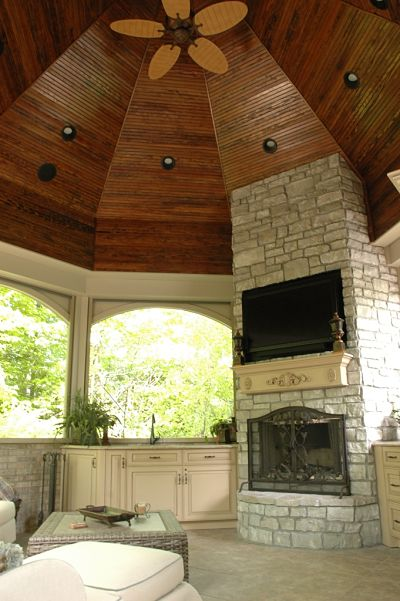 stone fireplace in gazebo
