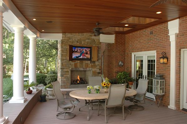 gas fireplace on open porch