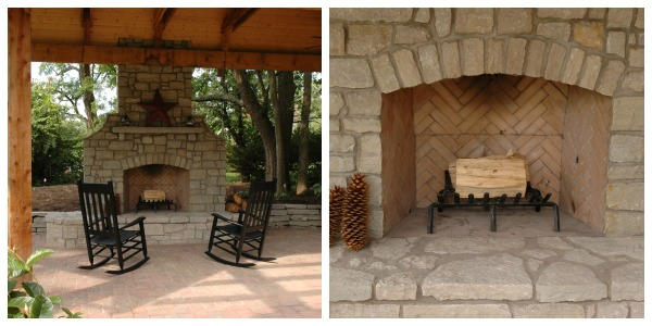 wood burning stone fireplace in open air shelter