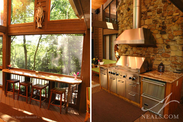 screened porch with kitchen