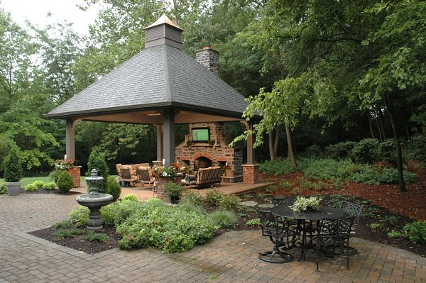 gazebo with outdoor fireplace and tv