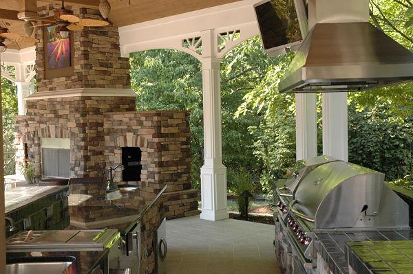 veranda with outdoor tv