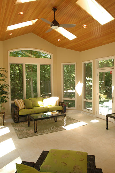 three season room with crank out windows and skylights