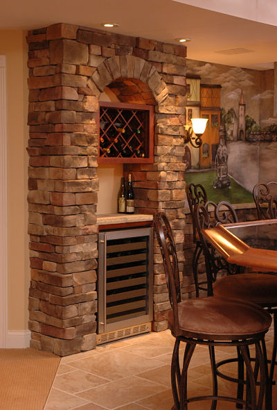 basement wine storage alcove