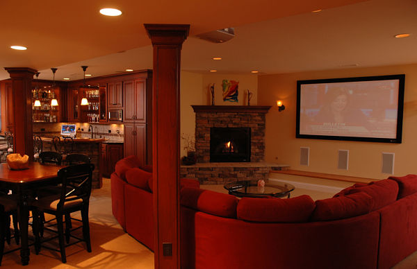 basement with kitchenette and media room